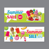 Summer sale voucher background template. Discount coupon. Banner Stock Images