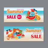 Summer sale voucher background template. Discount coupon. Banner Royalty Free Stock Photography