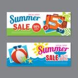 Summer sale voucher background template. Discount coupon. Banner season elements flat design. Stock Photography