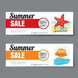 Summer sale voucher template.Discount coupon. Banner hand drawn Royalty Free Stock Images