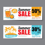 Summer sale voucher template.Discount coupon. Banner hand drawn Royalty Free Stock Photos