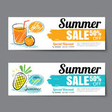 Summer sale voucher template.Discount coupon. Banner hand drawn Stock Image
