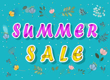 Summer sale with watercolor flowers stock images
