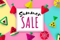 Summer sale web banner fruits stock illustration