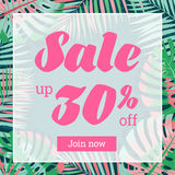 Summer sale. Web-banner or poster with palm leaves. EPS 10 Royalty Free Stock Photography