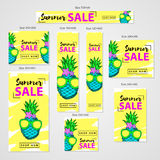 Summer sale- web banners set, colorful hand drawn pineapple with Stock Images