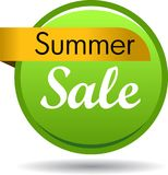 Summer sale web button icon. Vector illustration isolated on white background - summer sale web button icon Stock Image