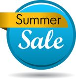 Summer sale web button. Vector illustration isolated on white background - summer sale web button icon Stock Photo