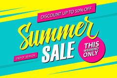 Summer Sale. This weekend special offer banner, discount 50% off. End of season. Vector illustration royalty free illustration
