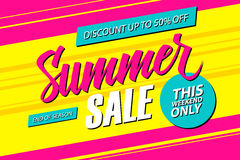 Summer Sale. This weekend special offer banner, discount 50% off. End of season. Vector illustration Royalty Free Stock Photography