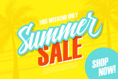 Summer Sale. This weekend special offer banner with palm trees. Shop now. Stock Image