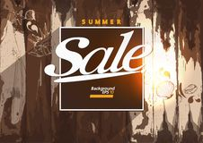 Summer Sale Wooden Background Vector royalty free illustration