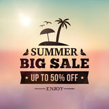 Summer sales business adverisement sigm on blurred background Stock Images