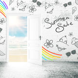 Summer sales. Creative white brick interior with open door, seaside view and drawn pattern on wall. Summer sales concept. 3D Rendeirng vector illustration