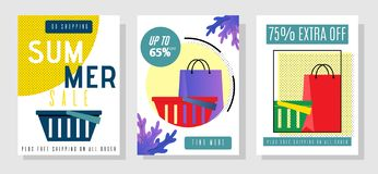 Summer Sales Flyers Set with Extra Sell-off Offer. Vector Shopping Bags and Baskets Illustration with Promotion Text. Invitation for Buying Goods at Bargain stock illustration
