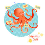 Summer sales poster with octopus Stock Photos