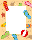 Summer Sand Beach Photo Frame. Photo frame, post card or page for your scrapbook. Subject: a sand beach with colorful flip flops or beach sandals. Eps file vector illustration