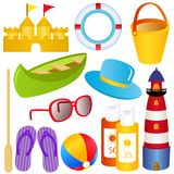 Summer, sand, sea, SPF, sandals. Colorful vector Icon Set : Summer time, sand, sea SPF and sandals Royalty Free Stock Image