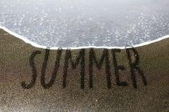 Summer sand writing Stock Photo