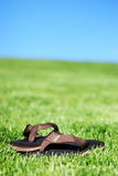 Summer Sandals. Sandals sitting together in the summer grass under a blue sky Royalty Free Stock Photography