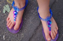 Summer Sandals. Child`s colorful summer sandals Royalty Free Stock Images