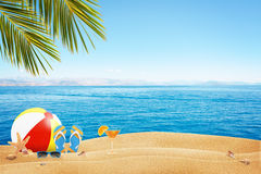 Summer sandy beach. Summer accessories on sandy beach Stock Images