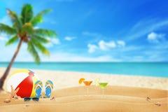 Summer sandy beach. Summer accessories on sandy beach Royalty Free Stock Photo