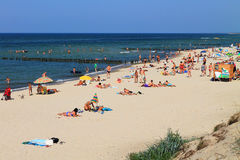 In the summer on a sandy beach of the Baltic Sea Royalty Free Stock Images