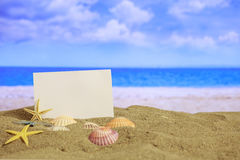Summer sandy beach - blank paper sheet stock photography