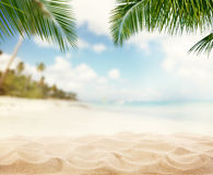 Summer sandy beach with blur ocean on background Royalty Free Stock Photo