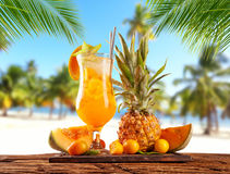 Summer sandy beach with fruit ice drink. Summer sandy beach with ice drink and fruit. Palm leaves on foreground. Copyspace for text Royalty Free Stock Images