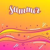 Summer on sandy beach. Stylized illustration of coastline.  Royalty Free Stock Photos