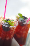 Summer sangria with apple and blackberries Stock Photography