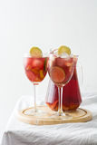 Summer sangria on tablecloth Royalty Free Stock Photo