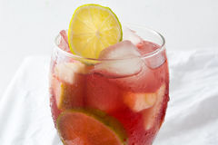 Summer sangria on tablecloth Royalty Free Stock Image