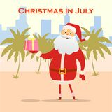 Summer Santa Claus on the beach. Vector cute cartoon character. Christmas in July Sale marketing template. royalty free illustration