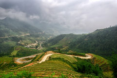 Summer Sapa under the clouds. North Vietnam, Summer Royalty Free Stock Image