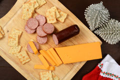 Summer sausage and cheese Royalty Free Stock Images