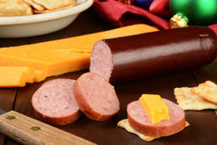 Summer sausage and cheese Stock Photography