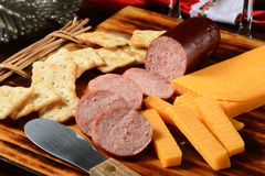 Summer sausage and cheese Royalty Free Stock Photography