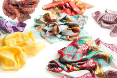 Summer scarf collection isolated on white Stock Photo