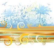 Summer scene. Vector illustration, sumer scene with abstract spiral waves, seagulls, palms, etc stock illustration