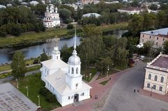 View of the Temple of the Holy Prince Alexander Nevsky church. Summer scene from around Vologda, Russia royalty free stock images