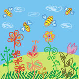 Summer scene with bees. And flowers Royalty Free Stock Photography