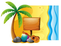 Summer scene with board and beach royalty free illustration