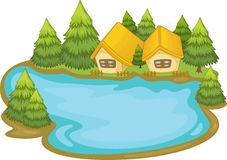 Summer scene by the lake. Illustration of a house on a lake Stock Image