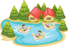 Summer scene by the lake Royalty Free Stock Image