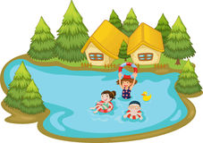 Summer scene by the lake Royalty Free Stock Photos