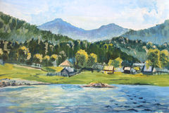 Summer scene of landscapes with river and village, oil painting. Summer scene of landscapes with river and village, this is oil painting stock illustration