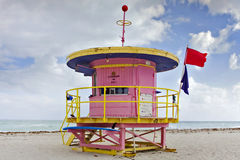 Summer scene with a lifeguard house in Miami Beach Royalty Free Stock Photo